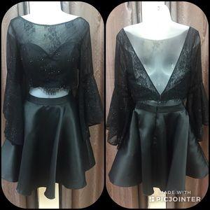 Alyce Paris Short two piece black dress Sz 8 NWT